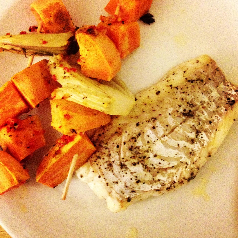 Bagt Torsk Med Søde Kartofler Og Fennikel Køkkenfryd